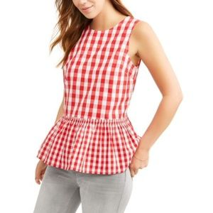 Tops - Red Sleeveless Peplum Gingham Top  NWT